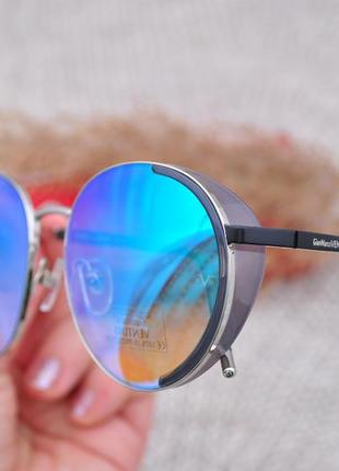 Красивые круглые зеркальные солнцезащитные очки с боковой шорой gian marco venturi