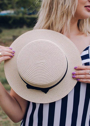 13-68 канотье шляпа женская летняя от солнца шляпка панамка пляжная