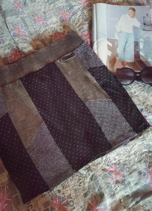 Базовая,комбинированая трикотажная юбка карандаш,в горошки,и клетку
