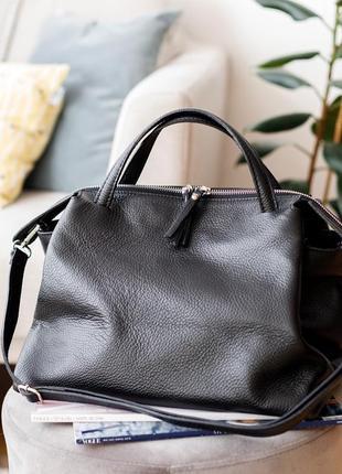 Итальянская кожаная мягкая черная сумка, (borse in pelle) италия