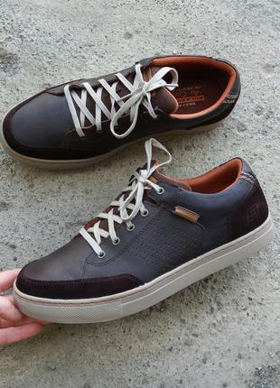 Р.46 skechers (оригинал) кожаные туфли.