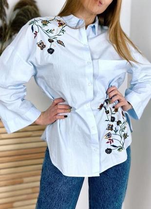 Хлопковая рубашка свободного кроя с вышивкой от zara