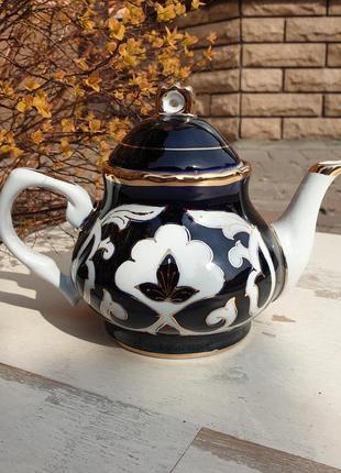 Чайник заварочный пахтагуль кобальт с золотом. ташкент, узбекистан