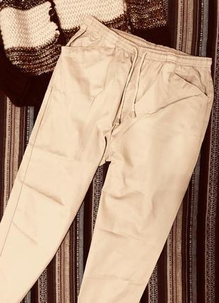Весенние бежевые коттоновые брюки штаны на резинке чиносы джоггеры 100% хлопок батал
