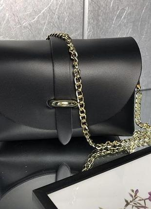 Стильная кожаная сумочка клатч на цепочке италия сумка