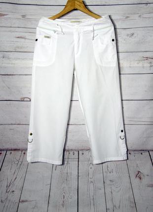 Белоснежные хлопковые бриджи/капри с карманами