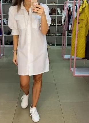 Хлопковая рубашка платье. белое котоновое мини платье-рубашка. хс-м