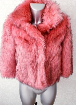 Шуба розовая короткая эко мех