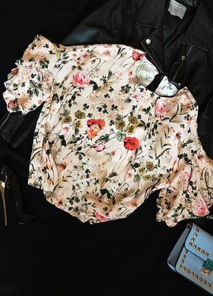Шикарная стильная красивая свободная блуза в цветочный принт zara
