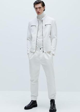 🌿1+1=3 фирменная мужская бежевая куртка бомбер zara демисезон осень, размер 46 - 48