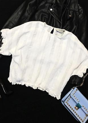 Шикарная трендовая белая свободная льняная блуза
