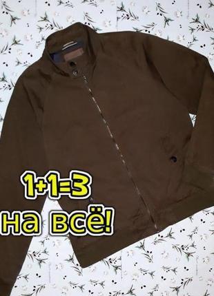 🎁1+1=3 фирменная мужская коттоновая куртка хаки next демисезон осень, размер 48 - 50