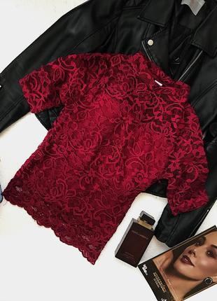 Шикарная трендовая нарядная кружевная ажурная блуза цвета марсала h&m