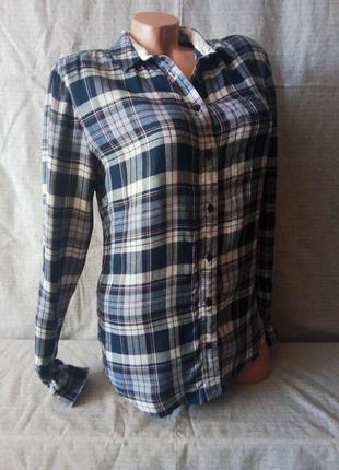 Рубашка в клетку синяя коттон