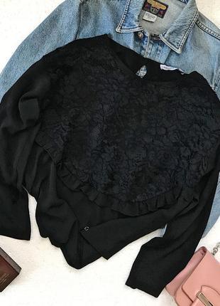Шикарная фирменная чёрная шифоновая блуза с кружевом италия