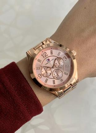 Часы женские наручные металлические розовое золото