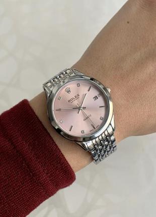 Часы женские наручные металлические серебристые с розовым с датой