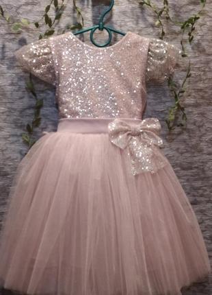 Красивое пышное пудрово розовое платице для маленькой феи