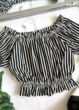 Романтичный кроп топ блуза в полоску h&m