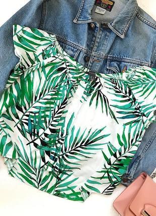 Классная актуальная блуза топ в тропический принт