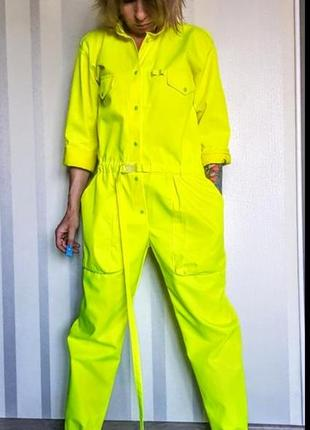 """Моднейший неоновый комбинезон """" роба"""" с карманами на кнопках 50% коттон6 фото"""
