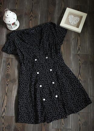 Платье туника из жатой ткани на запах с принтом горох в стиле винтаж ретро