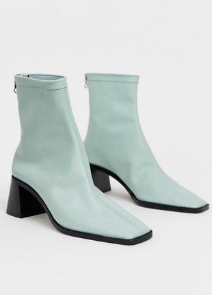 Новые актуальные мятные светло-зелёные ботильоны ботинки натуральная премиум-кожи