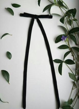 Бархатный бант заколка резинка черный, оксамитовий чорний, черный, для волос, волосся!