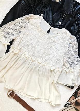 Шикарная нежная шифоновая блуза с вышивкой
