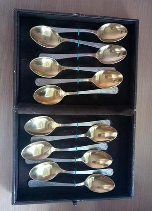 Набор ложек десертные (столовые) 12 шт. в футляре из нержавеющей стали