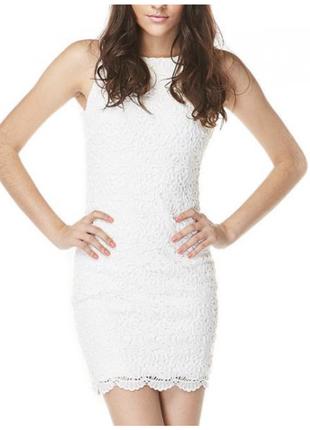 Платье белое, платье из кружева, guess