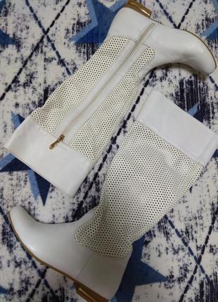 Новые белые кожаные сапоги весна распродажа
