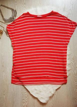 Красная в белую полоску натуральная длинная футболка туника кофта батал большой размер