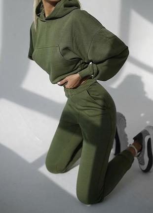 Женский костюм спортивный с капюшоном теплый повседневный цвет хаки
