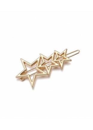 Красивая золотая заколка для волос со звездами
