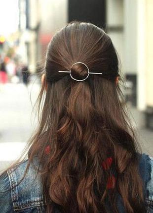 Круглая серебряная заколка шпилька для волос