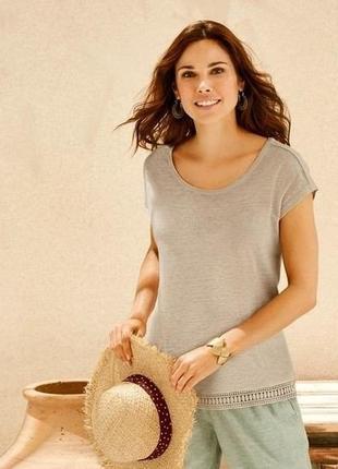 Крутая элегантная женская футболка,100% лён,esmara.размер m, евро 40-42