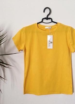 Новая качественная коттоновая футболка желтая горчичная