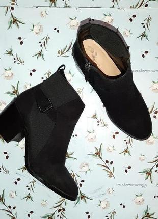 🎁1+1=3 крутые черные замшевые полусапожки ботинки демисезон осенние zara, размер 39