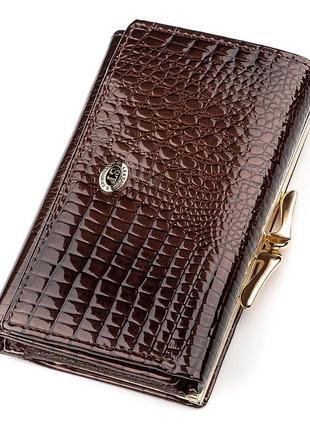 Кошелек женский st leather 18372 (s1201a) лакированная кожа коричневый, коричневый