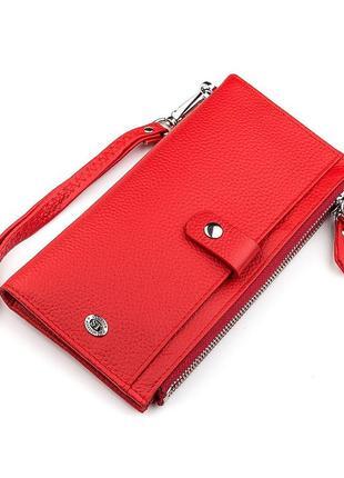 Кошелек женский st leather 18381 (st420) многофункциональный красный, красный