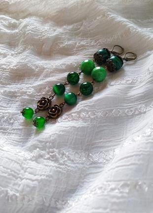 Зелёные серьги малахмт хризопраз
