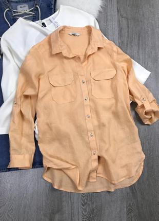 Нежно-персиковая рубашка.  100%  лён