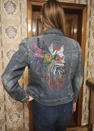 Джинсовая куртка ручная роспись l