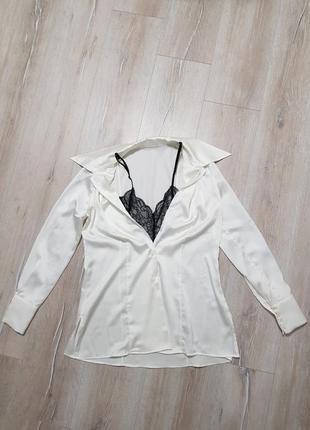Продам атлас рубашку с кружевом
