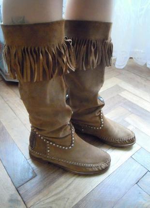 Ботинки из натуральной замши, в стиле karma of charme, бохо, этно + краска в подарок