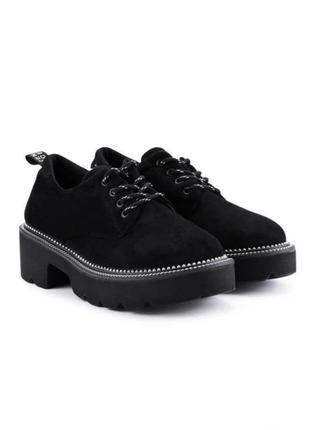 Чёрные туфли замшевые оксфорды ботинки