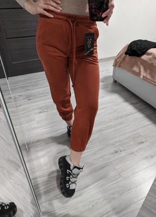 Женские укороченные брюки джогеры штаны на резинке! рыжие замшевые спортивные штаны