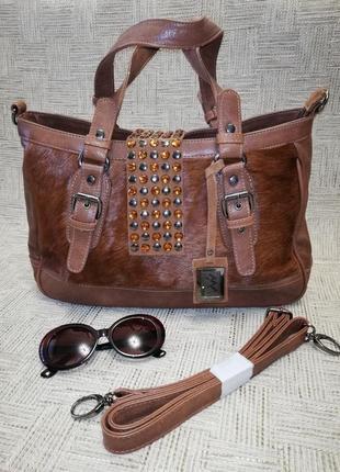 Стильная, очень красивая сумка из экокожи, натур. меха и натур. замши благородных оттенков