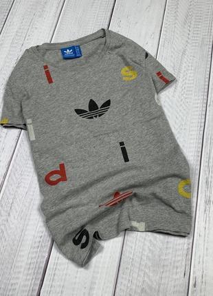Женская футболка adidas original мультилого 10 s серая
